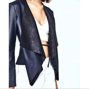 Zara Vegan Leather Drape Front Jacket Navy Blue M